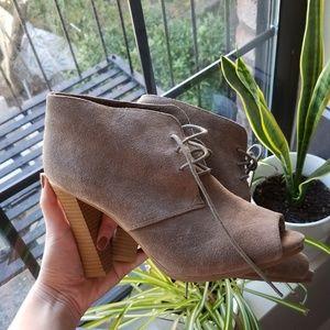 Ann Taylor LOFT Suede Leather Open Toe Booties 9